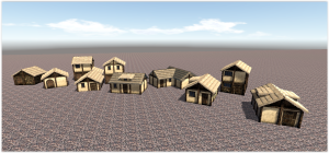 Variety of simple houses with thatch.