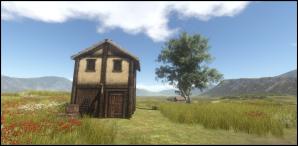 Two story wood and daub house.